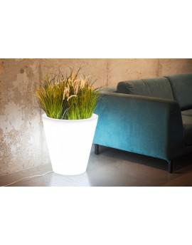 Podświetlana donica OVO biała light