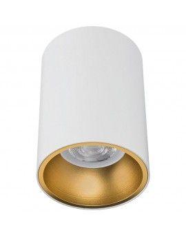 Oprawa GU10 okrągła sufitowa natynkowa biała ze złotym ringiem