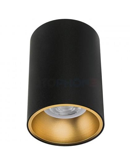Oprawa GU10 okrągła sufitowa natynkowa czarna ze złotym ringiem