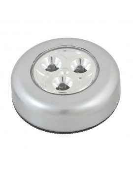 Lampka 3 LED okrągła przyklejana na 3x baterie AAA